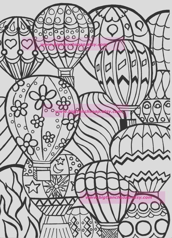 coloring page for adults hot air