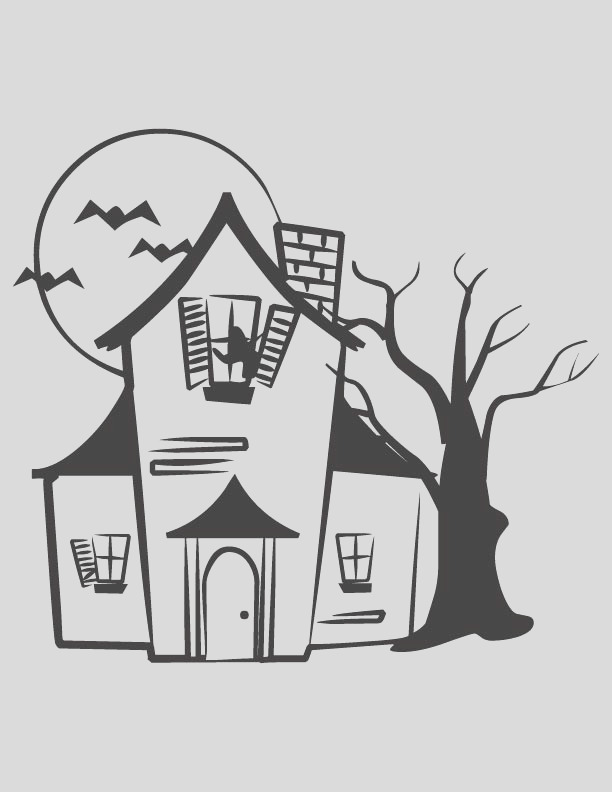 dark lonely house coloring page 1d4973