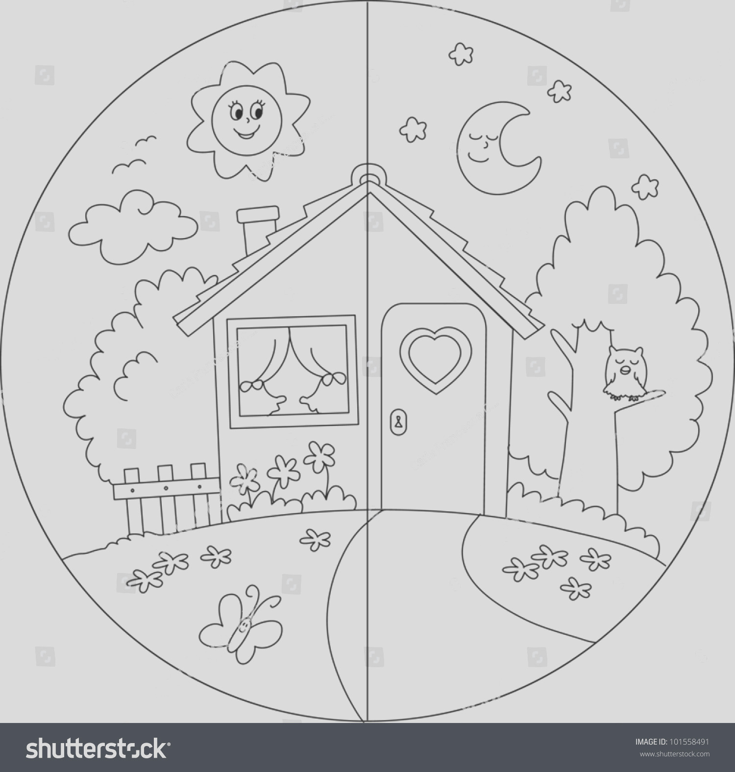 stock vector night and day view of a cartoon country house coloring vector for children