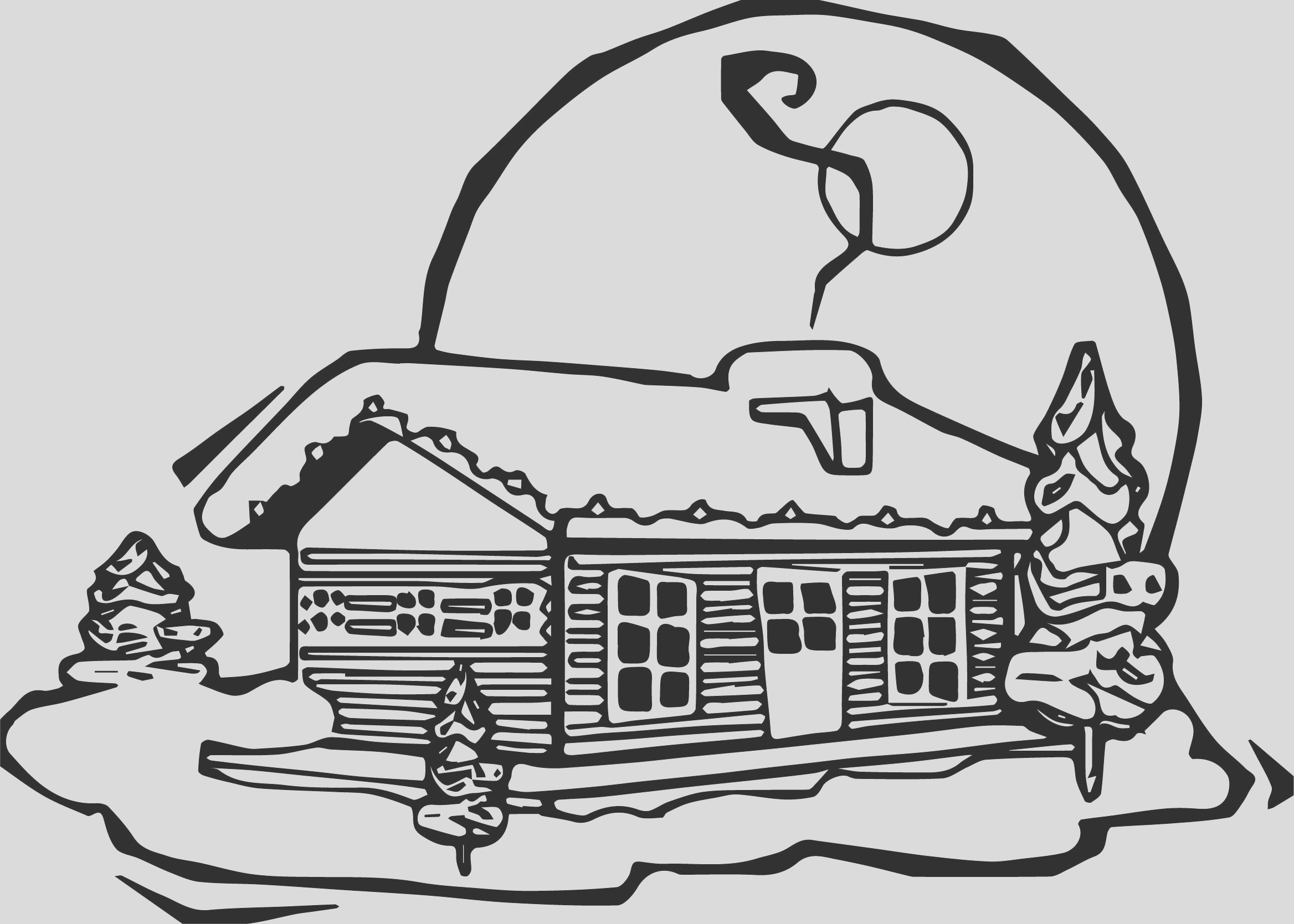 winter night house coloring page