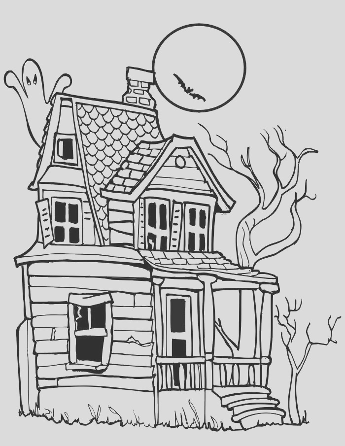 haunted house coloring pages on moon night