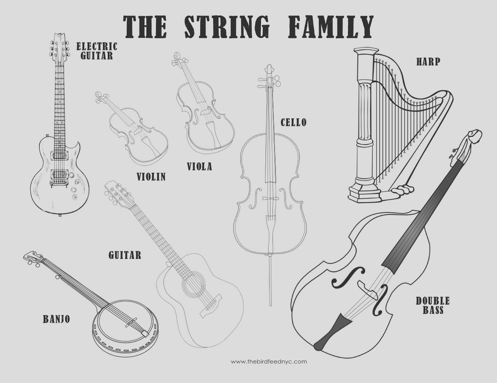 musical instrument coloring sheets the string family