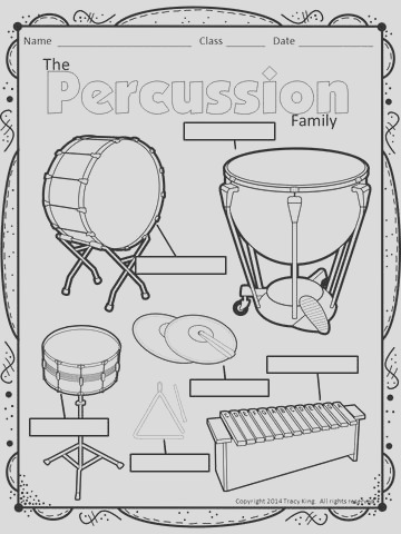 instrument coloring sheets 1