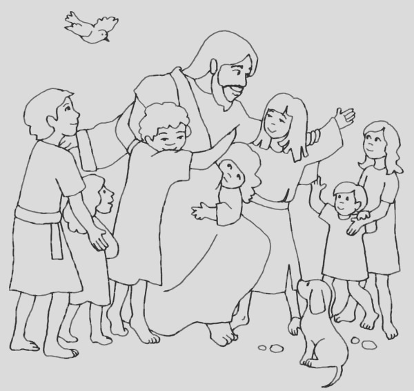 jesus loves children and jesus love me coloring page