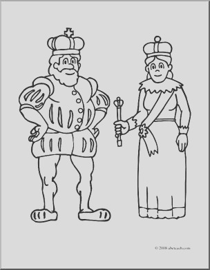 clip art royal family king and queen coloring page i abcteach