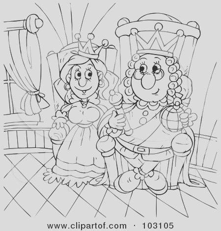 coloring page outline of a happy king and queen sitting at the throne