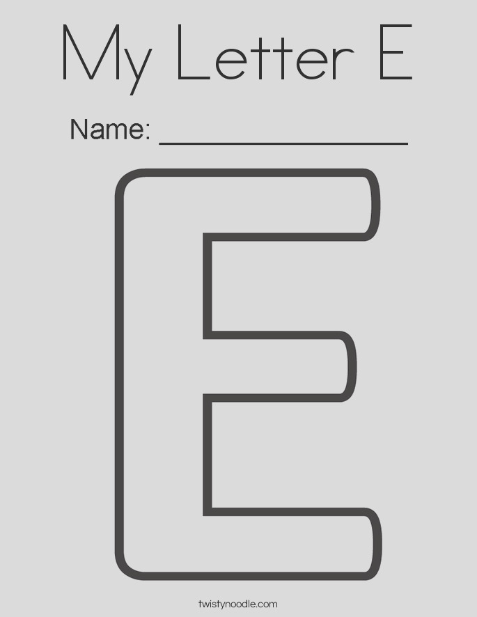 my letter e 2 coloring page