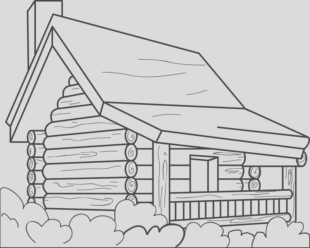 log cabin coloring page a4336