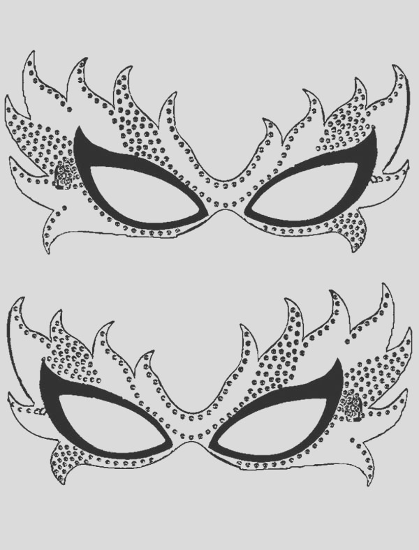 couple of mardi gras mask coloring page
