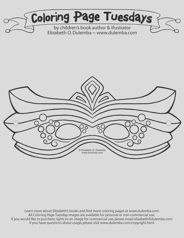 coloring page tuesday mardi gras mask