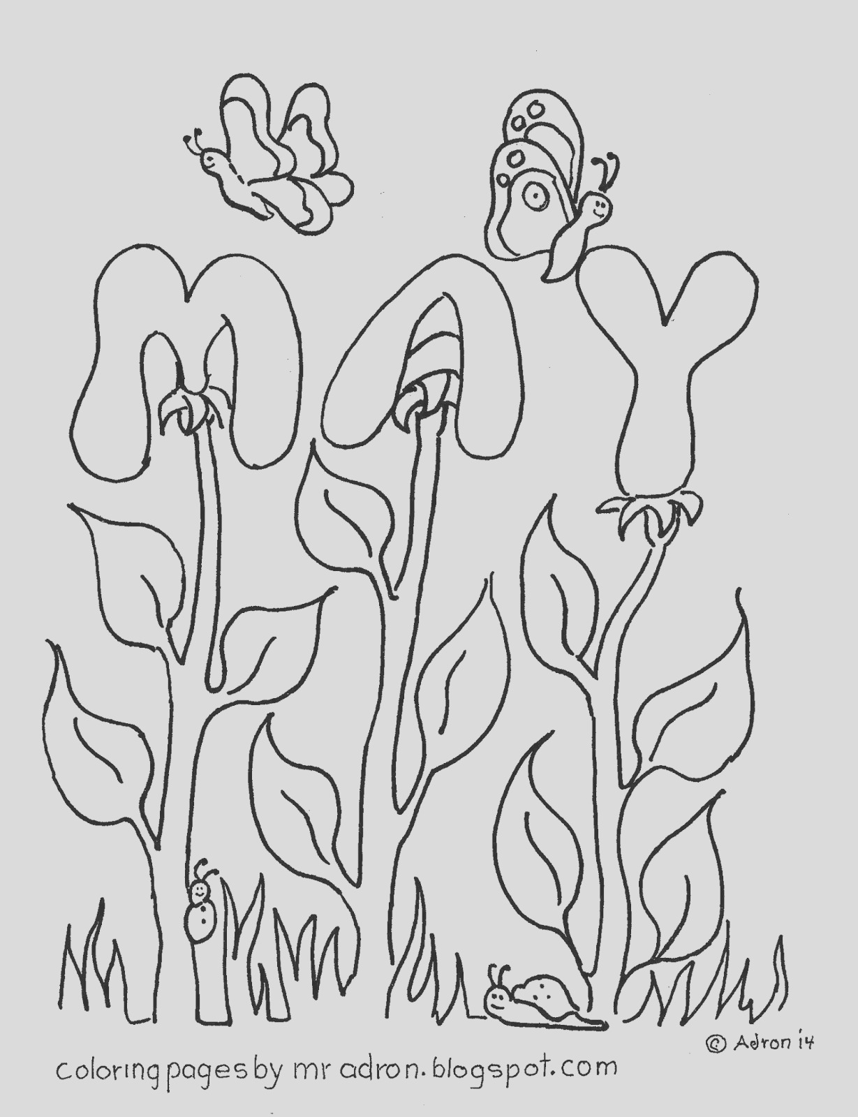 the month of may free coloring page