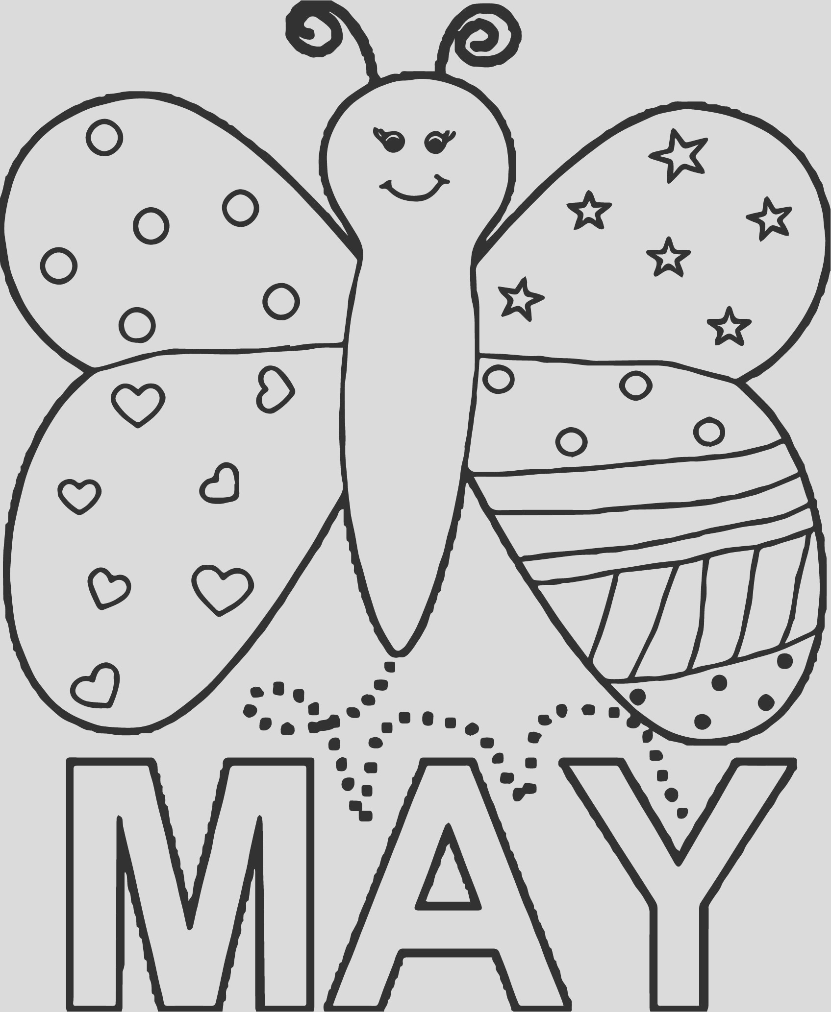 may butterfly beautiful coloring page