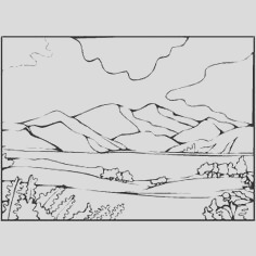mountain scenery coloring pages