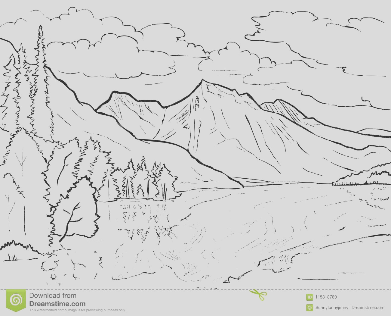 vector coloring page canadian landscape lake mountains trees vector coloring page canadian landscape lake mountains tr image