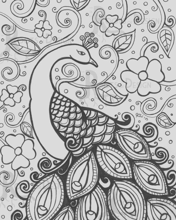 instant coloring page peacock
