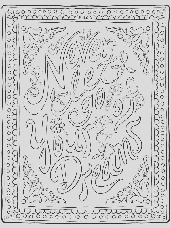 inspirational quote coloring page never