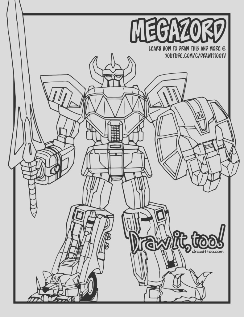 speed drawing megazord mighty morphin power rangers