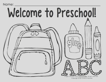 Coloring Pages for Back to School Pre K 1 classrooms