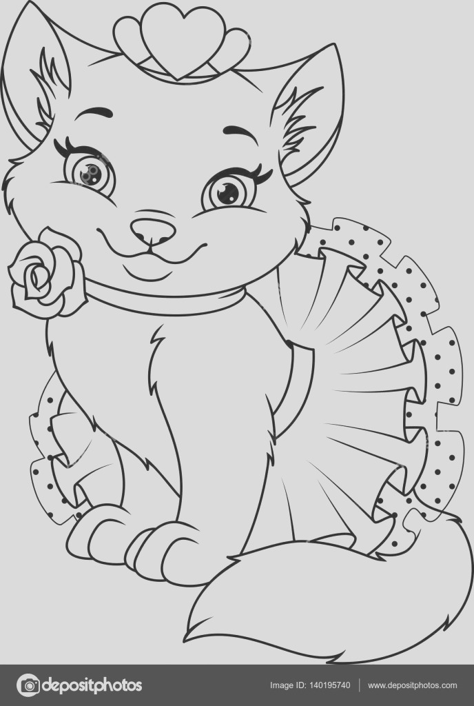 stock illustration cat princess coloring page