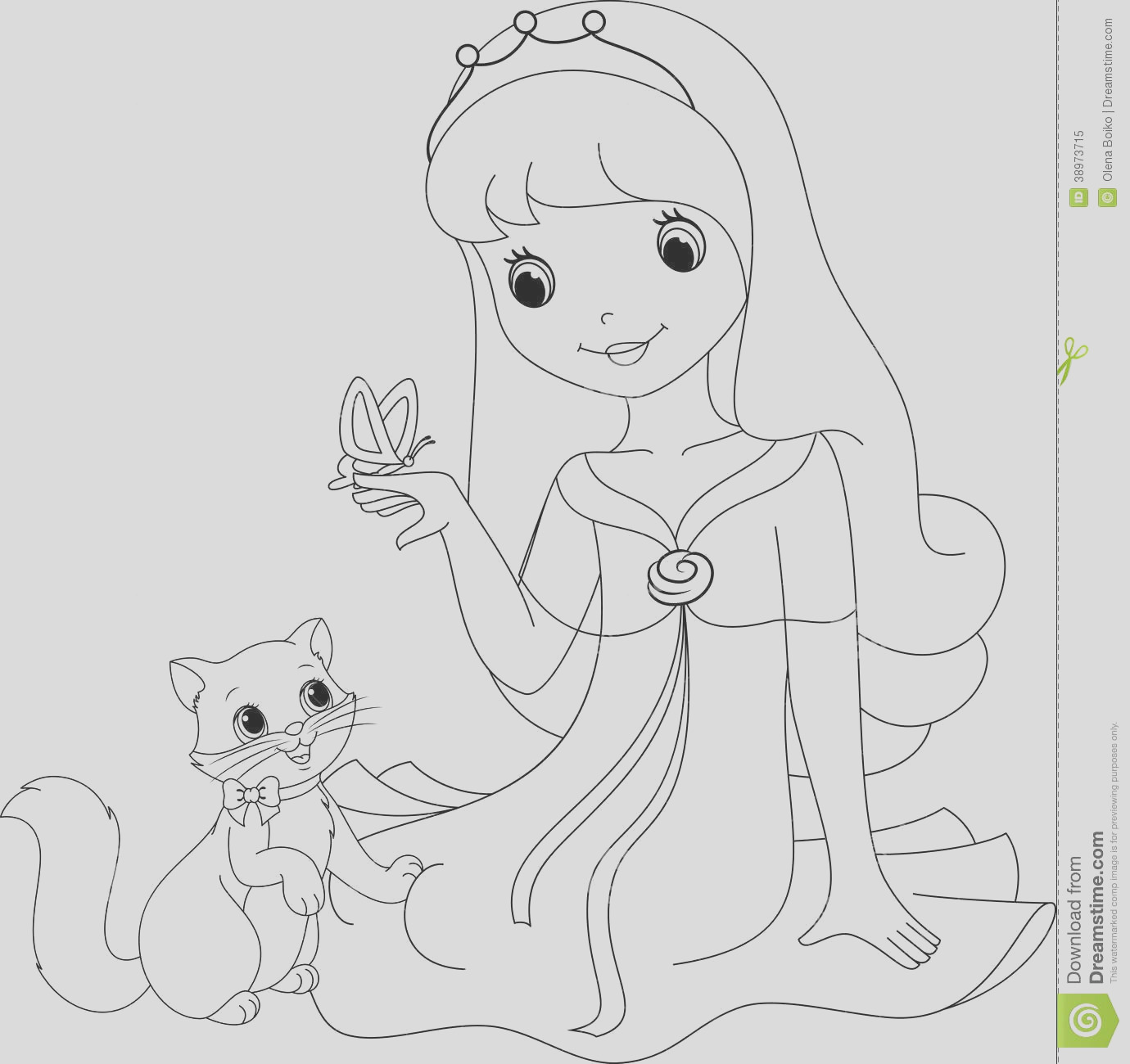 royalty free stock photo princess coloring page beautiful her cat looking butterfly image