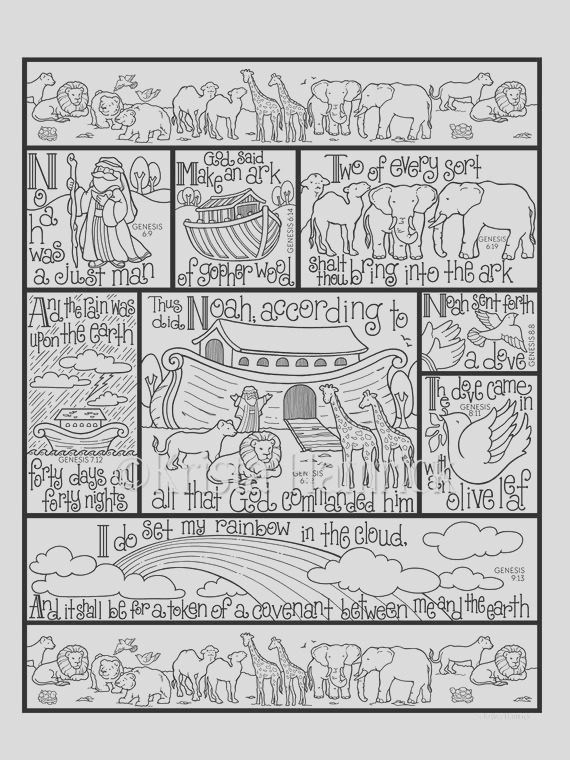 noahs ark coloring page in three sizes