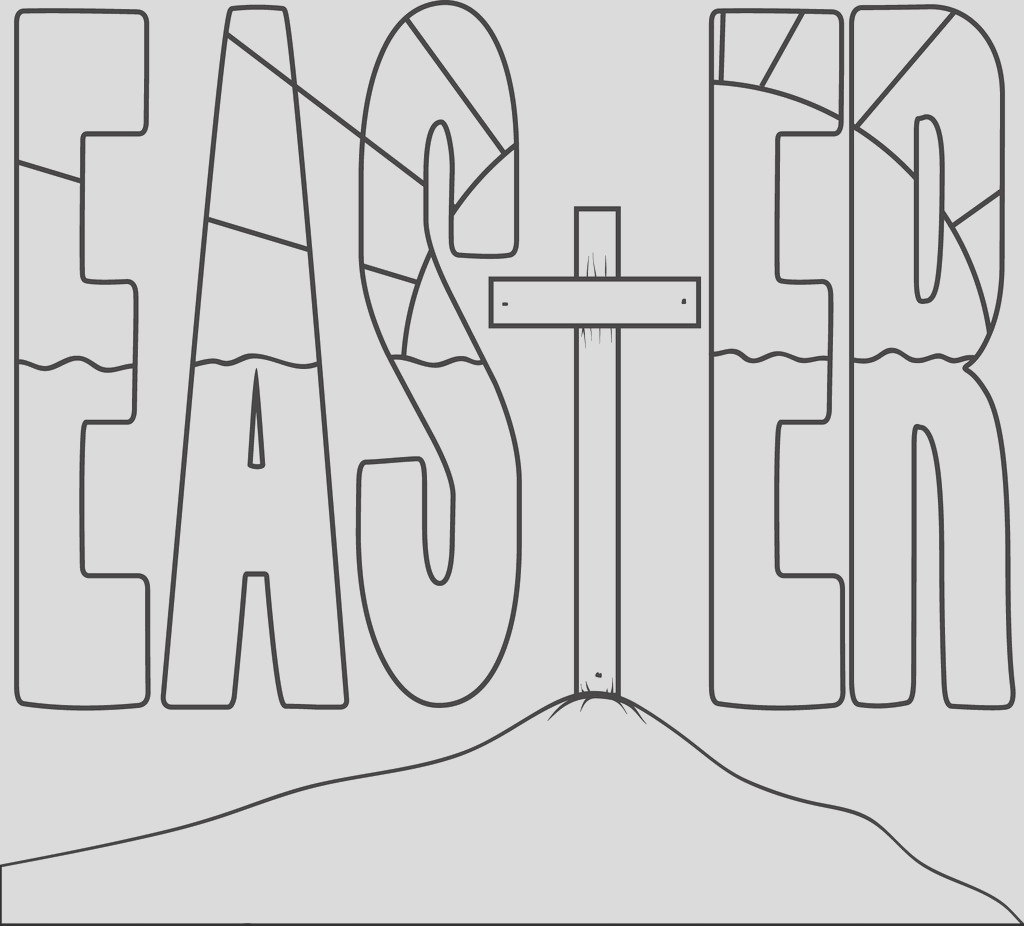 easter cross coloring page a4592