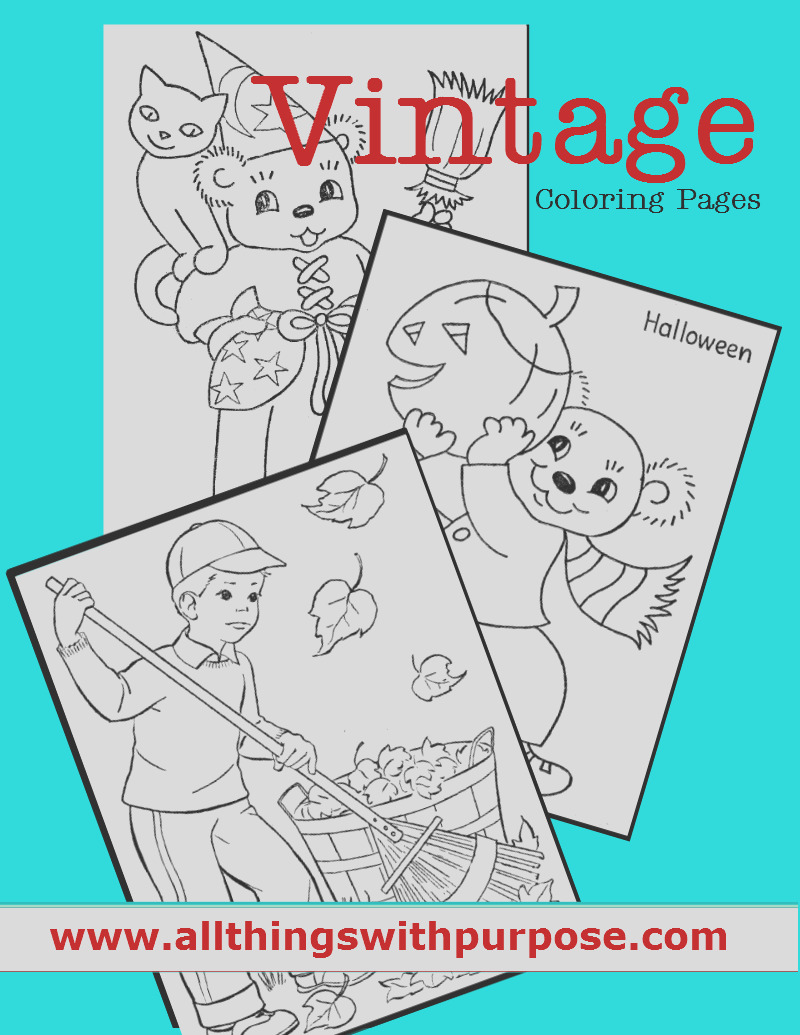 vintage coloring pages for fall