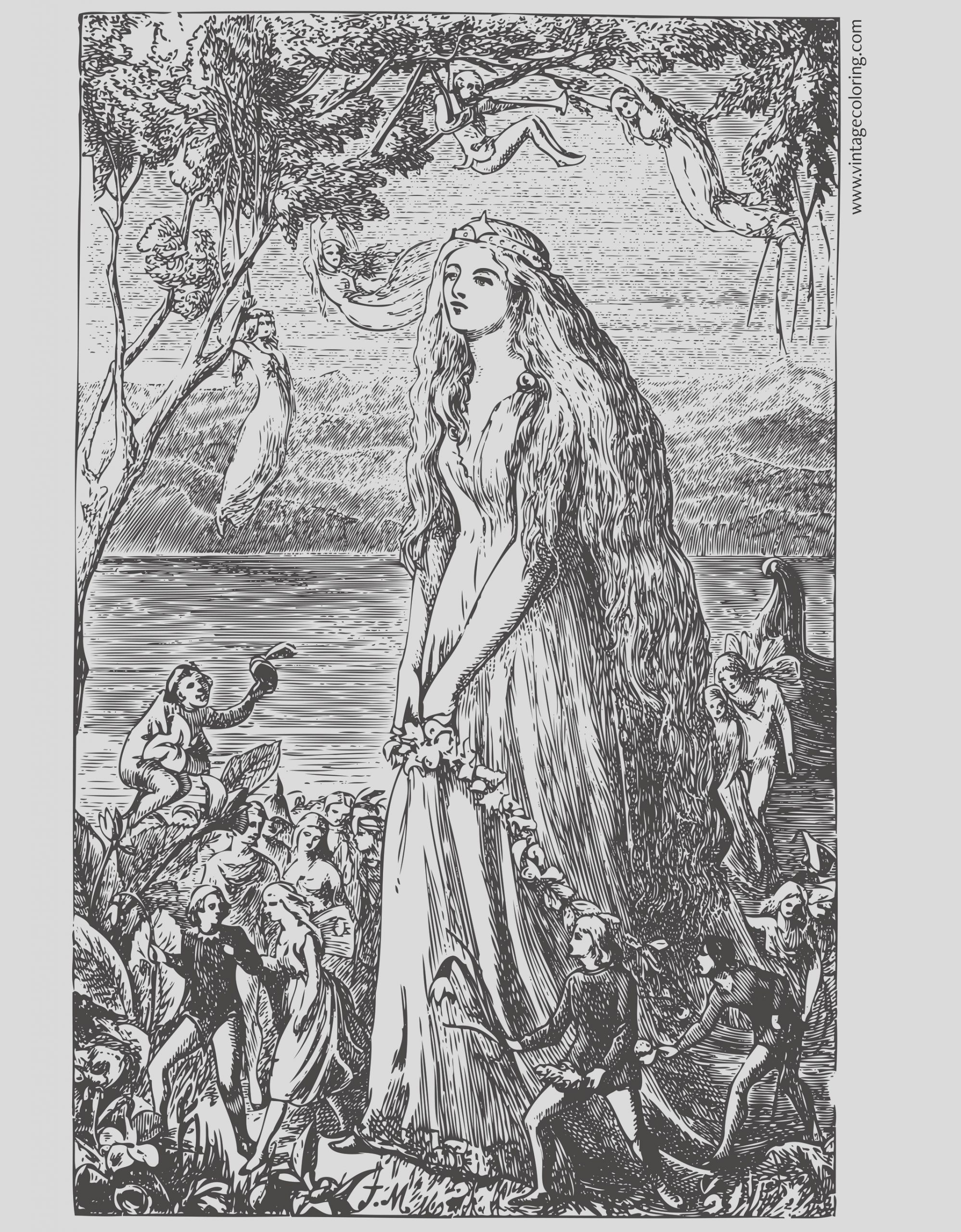 the queen a free vintage coloring page