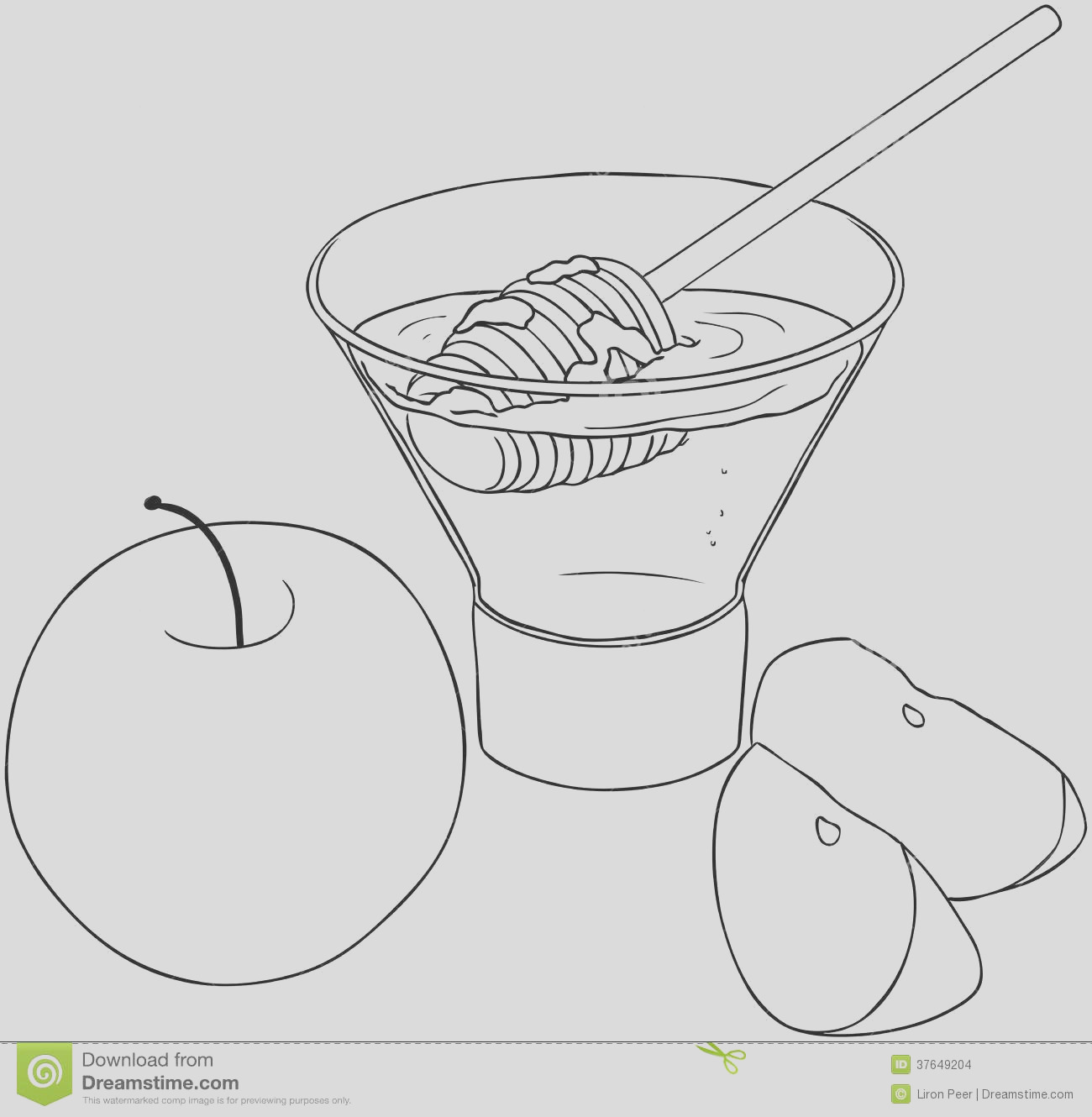 stock images rosh hashanah honey apples coloring page image
