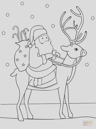 Santa And Reindeer Coloring Pages part 1