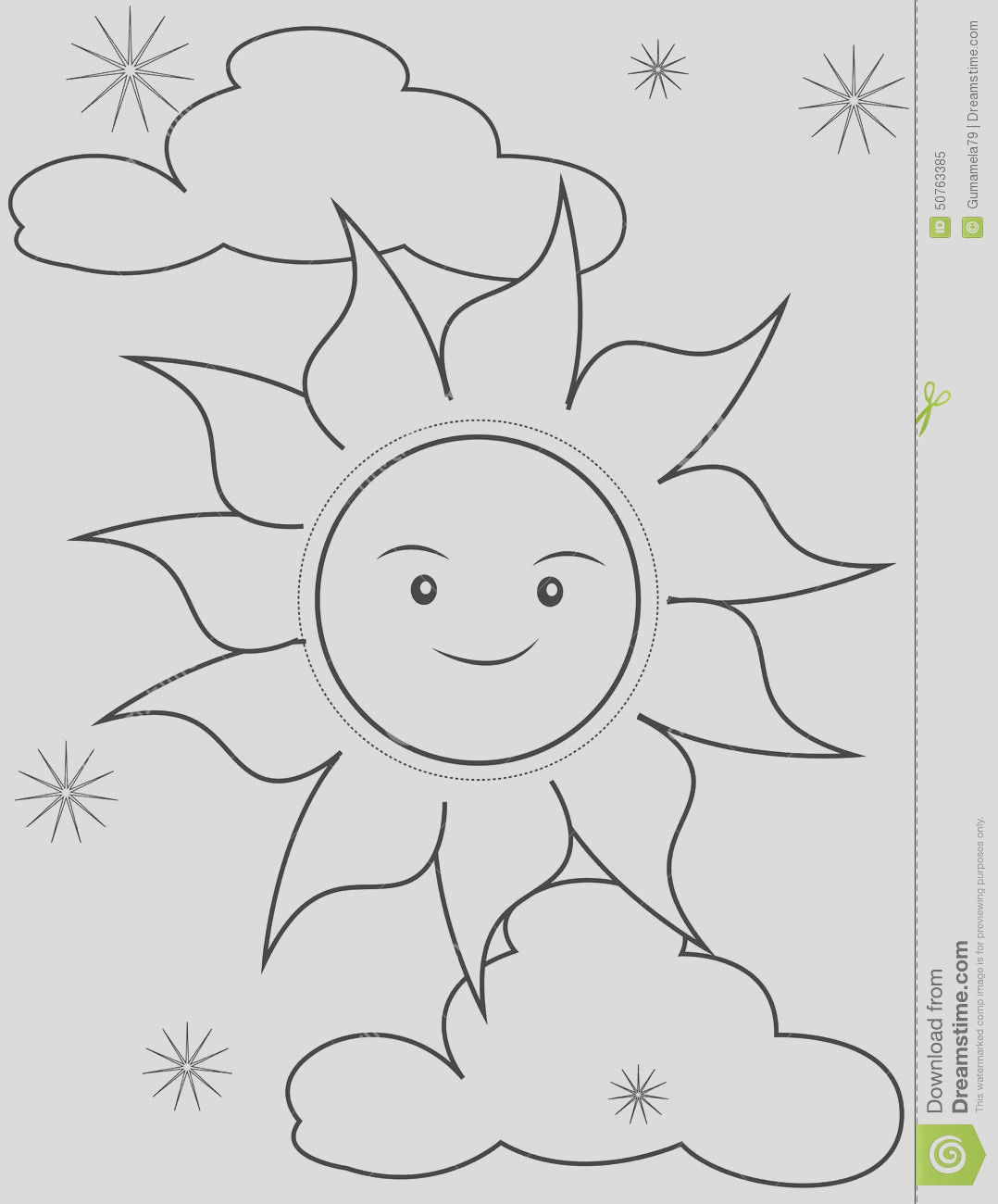 stock illustration sun coloring page useful as book kids image