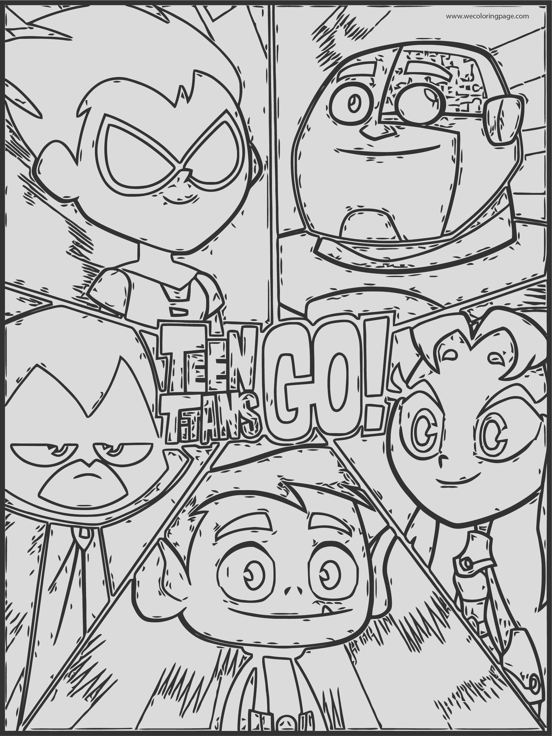 teen titans go sketch sheet coloring page