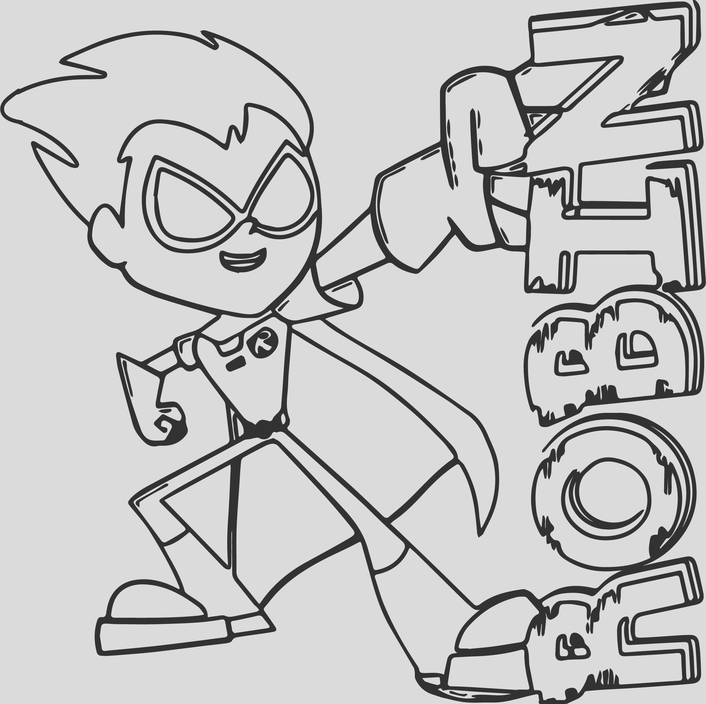 robin teen titans go coloring page