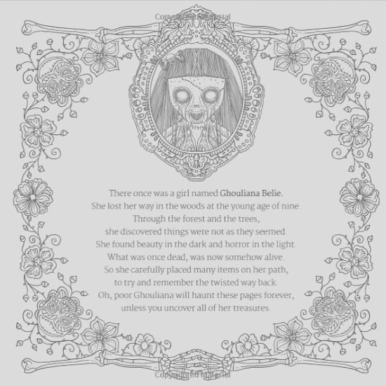 what color is horror you decide in the decadently goregeous adult horror themed coloring book