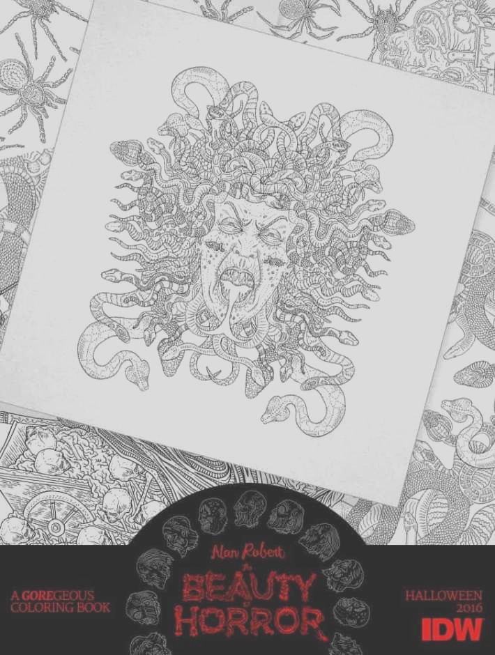take creepy look inside idws beauty horror goregeous coloring book
