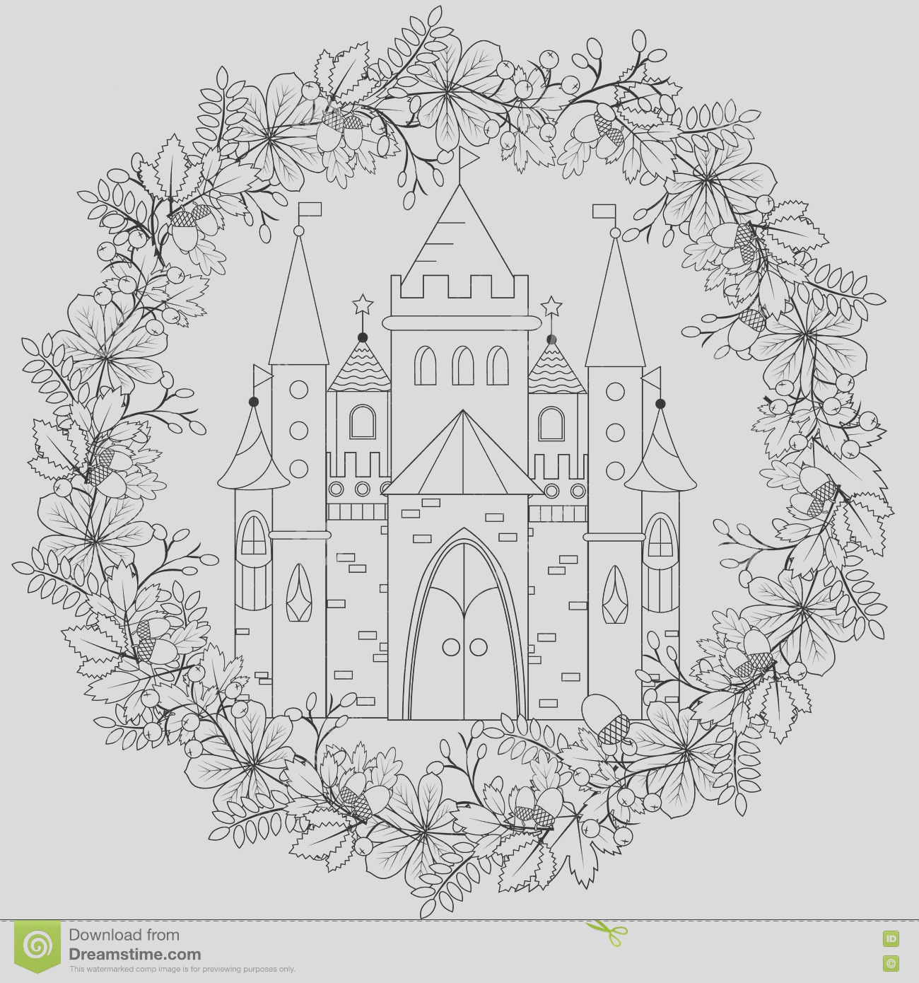 stock illustration relaxing coloring page fairy castle forest wreath kids adults art therapy meditation coloring book adult vector image