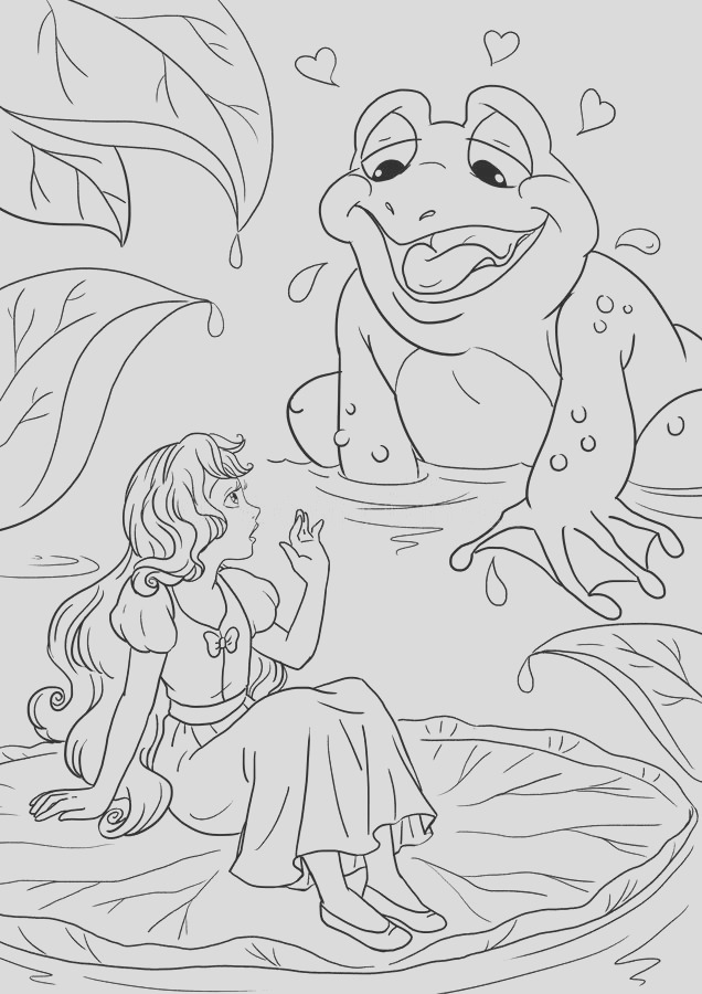 stock illustration thumbelina toad coloring book page fairy tale scene image