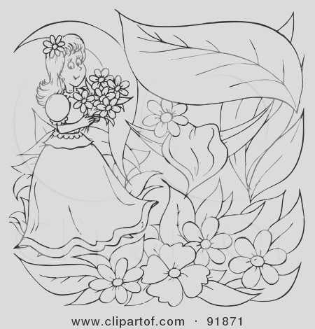 black and white thumbelina girl coloring page outline 2