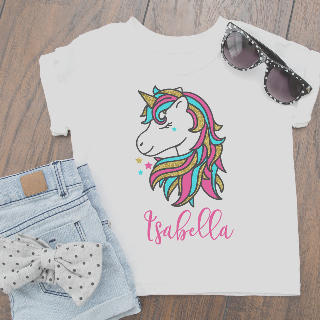 personalised girly glitter unicorn t shirt top baby toddler and kids sizes summerready