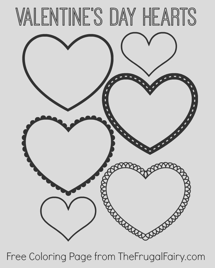 free valentines day hearts coloring page