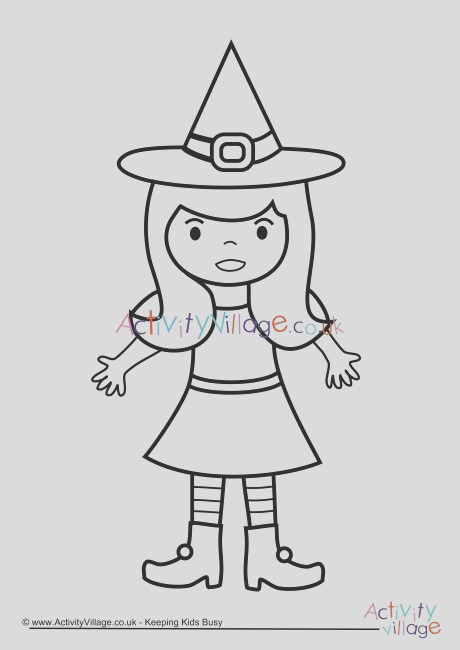 witch colouring page 3