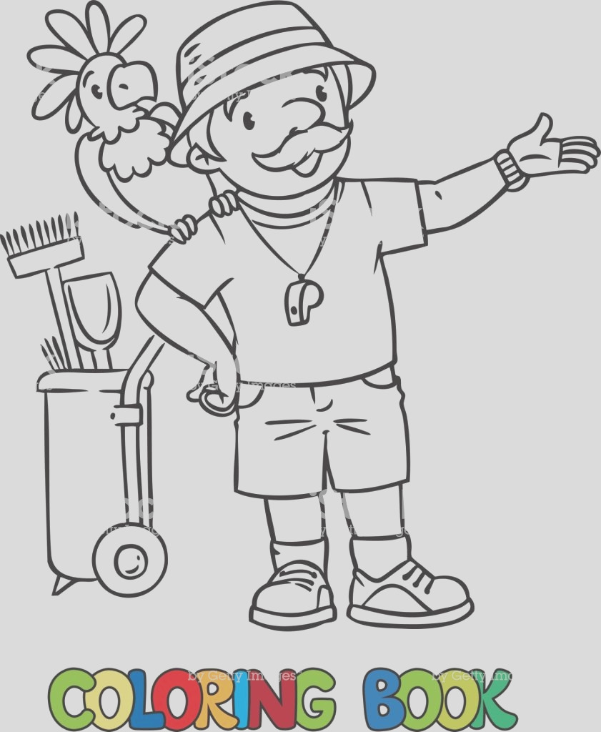 coloring book of funny zoo keeper with parrot gm
