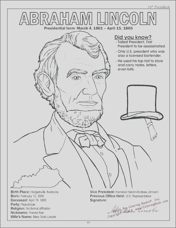 president lincoln coloring pages