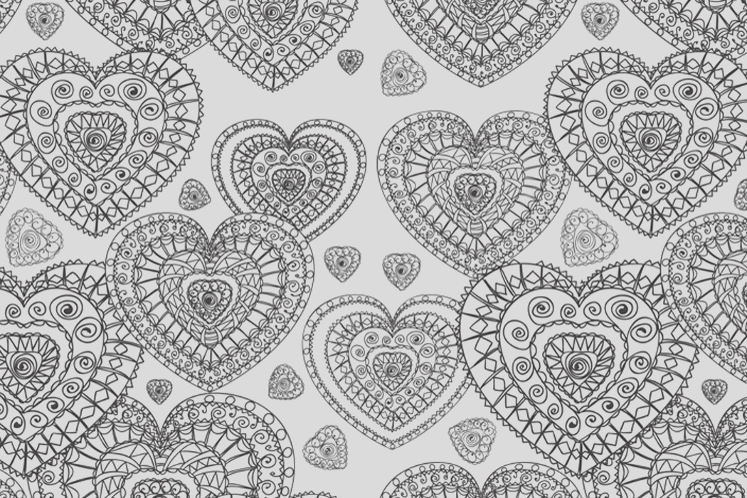 decorative heart free colouring pattern