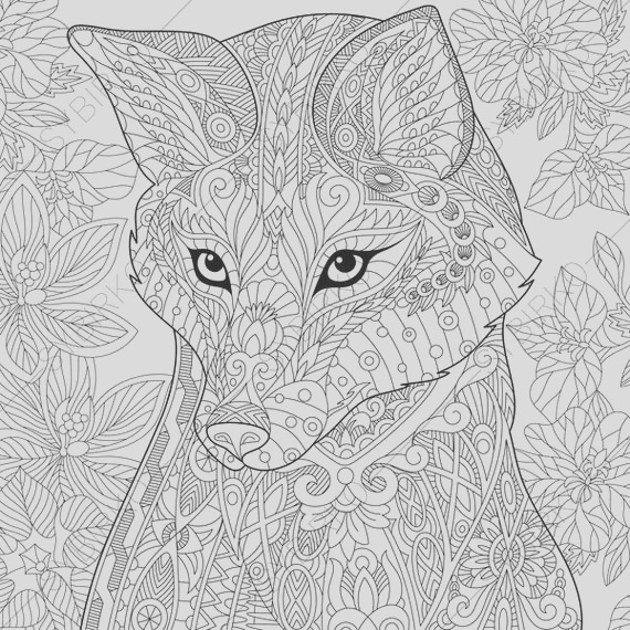 adult coloring pages fox zentangle