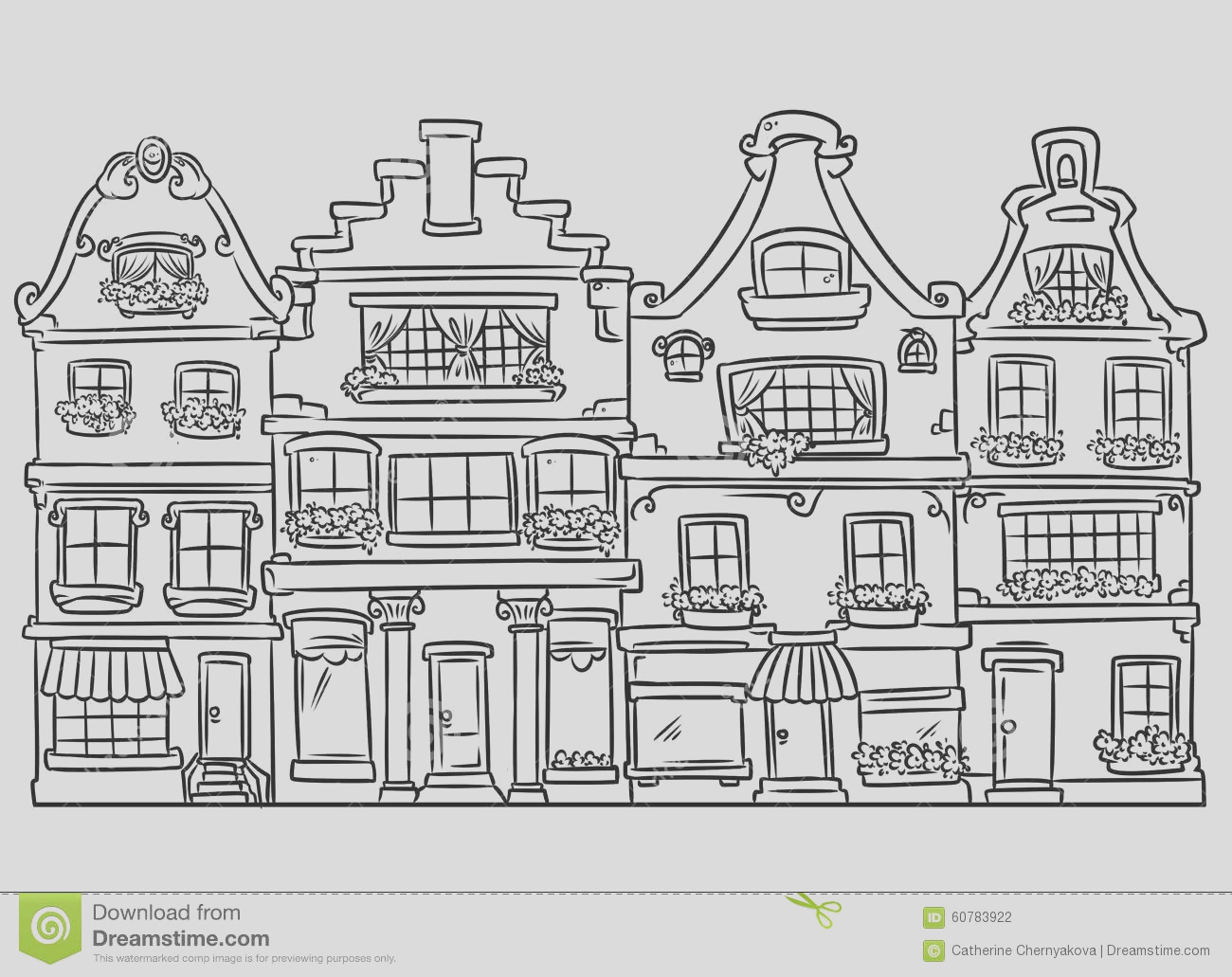 stock illustration home architecture coloring page doodle contour illustration isolated image image