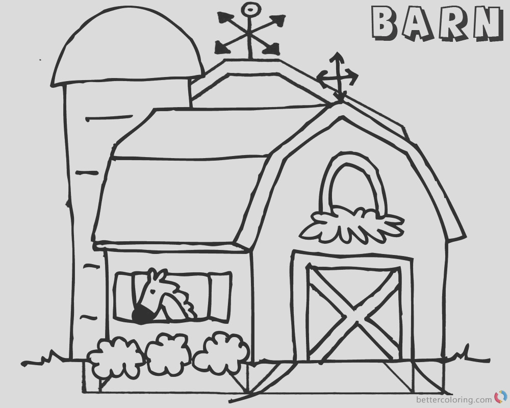 barn coloring pages horse in the barn