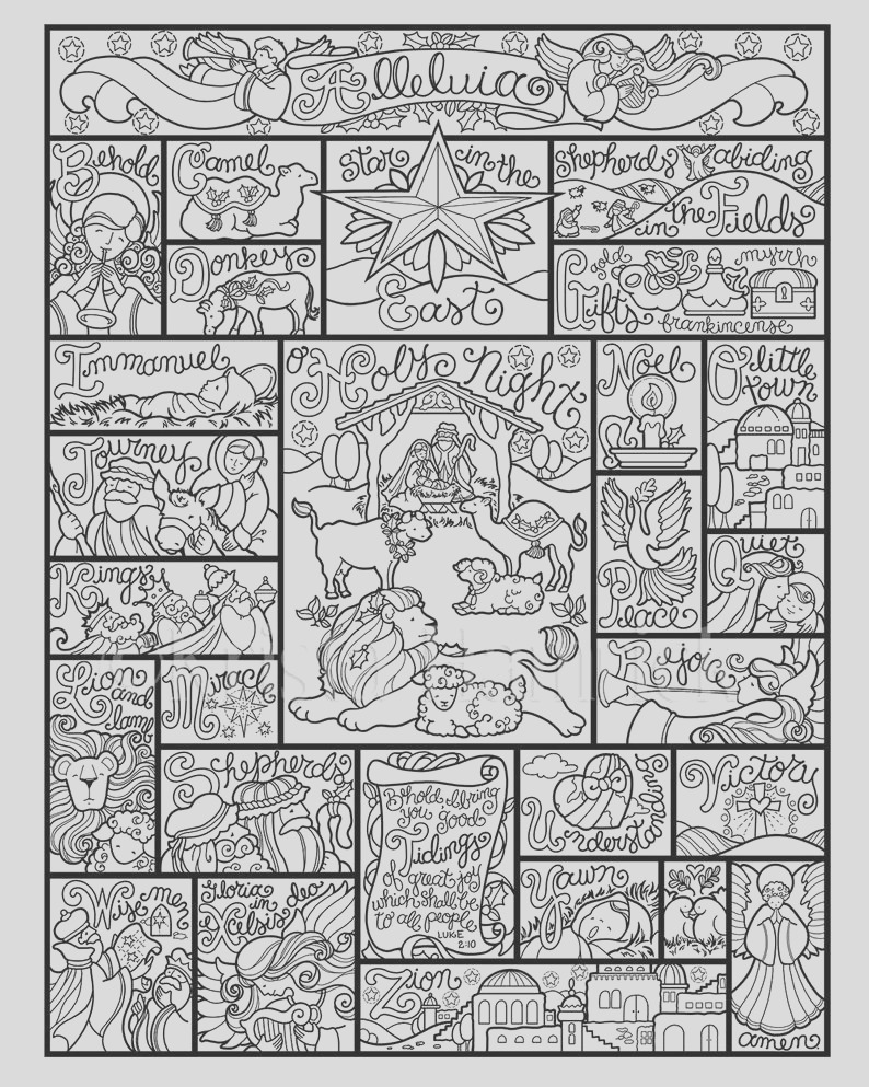 nativity alphabet coloring page in three