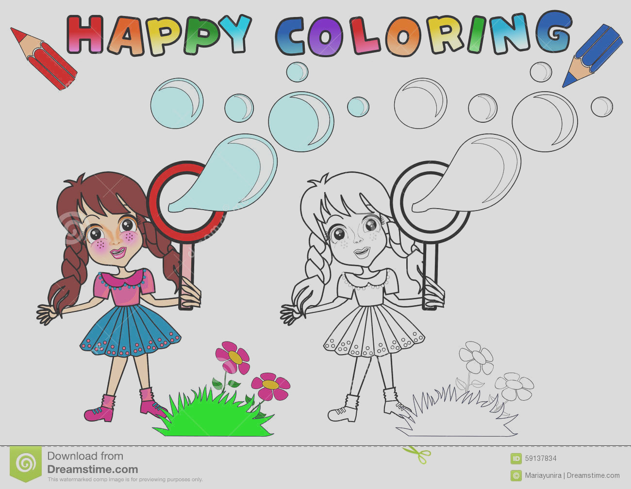 stock illustration coloring book kids cute girl character illustration girl character name gloria image