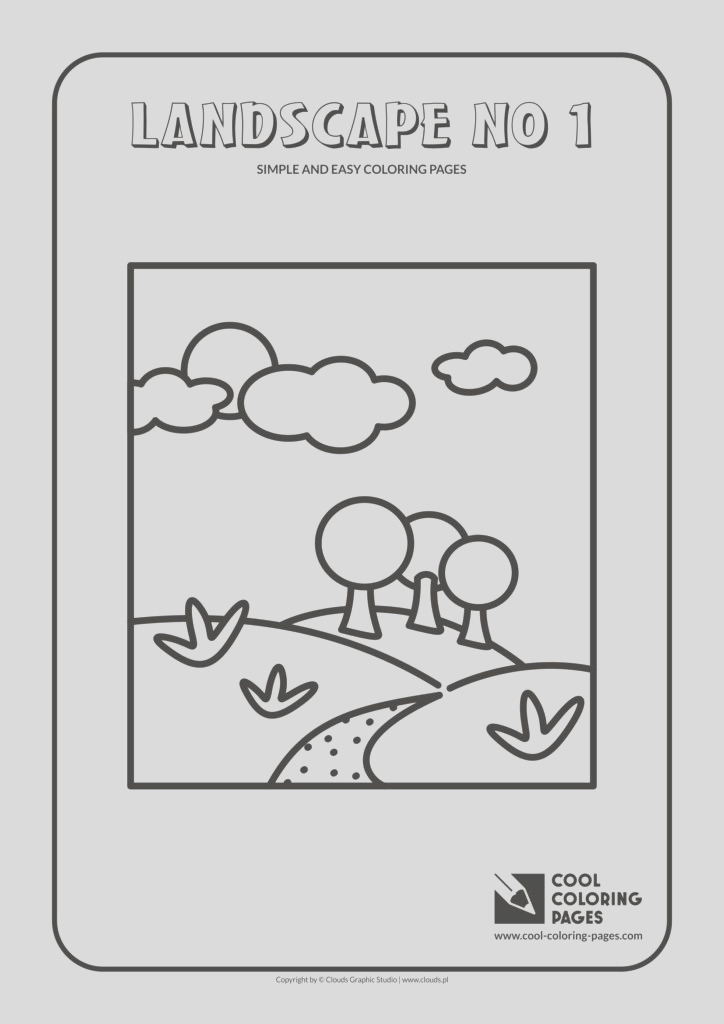 simple and easy coloring pages landscape no 1